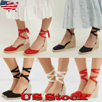 Casual Womens Fashion Lace-Up Espadrille Wedge Heels Wrap Strap Sandals Shoes
