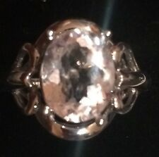 2.98CT NATURAL  OVAL CUT MORGANITE STERLING SILVER COCKTAIL OR ENGAGEMENT RING