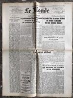 N86 La Une Du Journal Le Monde 17 Et 18 Aout 1947