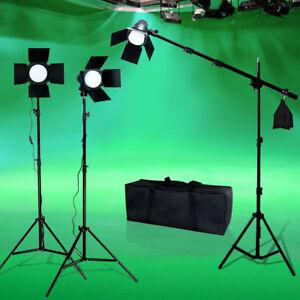 LED Photo Studio Lighting Photography Barndoor Light Boom arm Stand Kit w/ Bag