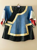 Antique Chinese Qing Dynasty Embroidered Silk Robe Blue Black 1920