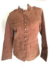 TWIGGY Brown Suede Jacket Leather Sexy Women's M Medium Military Button Coat