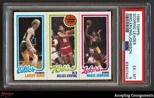 1980 Topps Basketball Larry Bird & Magic Johnson Rookie PSA 6 EX-MT RC