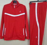 NIKE JORDAN BASKETBALL TRACK SUIT JACKET + PANTS RED WHITE RARE (SIZE XL / 2XL)