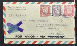BOLIVIA to GERMANY 1940 Maps o LAB-Condor Airmail/non Airmail Flight Cover ORURO
