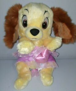 Disney Plush Babies Lady And The Tramp Dog with Pink Blanket Disney Parks 12inch