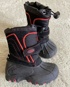 Totes Boys Black Red Fleece Lined Snow Boots Toddler Size 5