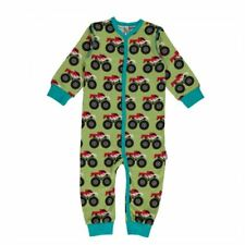 Maxomorra Organic Cotton Baby Boy Green Monster Truck Rompersuit 6 9 12 18 Mon 6-9 Months