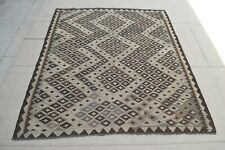6'3 x 5'4 Gray Handmade Afghan Wool Kilim Area Rug Traditional Carpet Tapis 9736