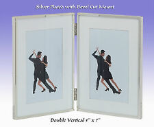 "Bsn13875hd Mayfair Double 5x7 "" Silver Plate With Wide Mount Photo Picture Frame"