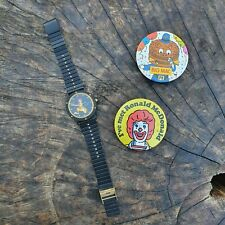 More details for vintage watch - ronald mcdonald - black chrome & stainless steel - japan