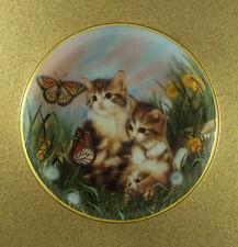 Chasing Butterflies Plate Sprovach Franklin Mint Monarch Tiger Striped Kittens