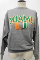 VINTAGE UNIVERSITY OF MIAMI GRAY PULLOVER SWEATSHIRT ORANGE & GREEN EVUC SZ S