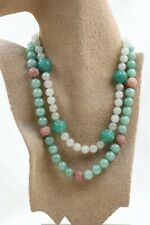 VINTAGE ALICE KUO CARVED AVENTURINE JADE ROSE QUARTZ DOUBLE STRAND NECKLACE
