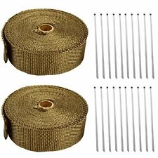 "2 Rolls x Titanium Lava Header Manifold Exhaust Heat Wrap Tape 20 Ties 2"" X 50ft"