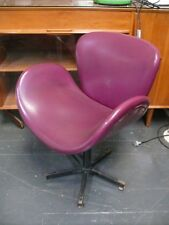 OLD VINTAGE MIDCENTURY SWIVEL SWAN CHAIR PURPLE LEATHER EAMES HANSEN JACOBSEN #2