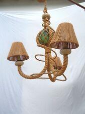 Lustre corde Audoux Minet vers 1950 suspension lustre ancre marine
