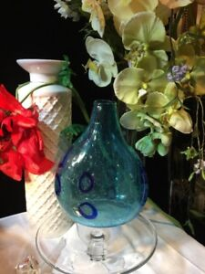 Zodax - Blue Mouth-Blown Glass Bubbles Decorative Vase 8 1/2-Inch Tall