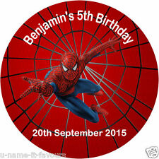Personalised Spiderman Birthday Gloss Round Sticker Labels - 65mm-12 Per Page