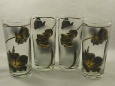 Retro Culver Cocktail Glass Tumblers - Black Flower with 22K Gold Design