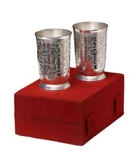 Silver Plated Brass Water Glasses Set of 2 Pieces Indian Home Decorative Glass