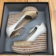 Gucci Nude Patent Leather Cork Platform Wedge Open Toe Wedges - 38 = 8B US
