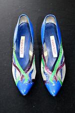 Vintage 604ms-607ms en cuir bleu et lézard peau chaussures pointure 7B