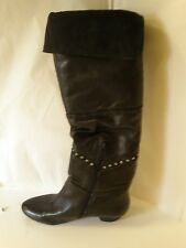 Nine West Sheanne Black Leather Textile Knee Boot 6 M Low Heel  Silver Studs