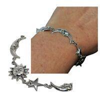 Bracelet original argent massif 925 lune soleil oeil de sainte lucie 19cm bijou