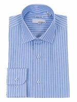 Mens Slim Fit Blue Textured Stripe Spread Collar Cotton Blend Dress Shirt