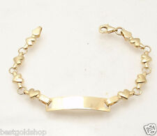 "6"" Kids Childrens Puffed Gucci  ENGRAVABLE ID BRACELET REAL 14K Tri-Color GOLD"