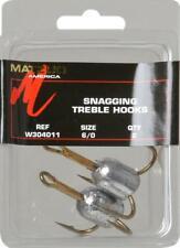 4 Matzuo W304011 6/0 Weighted Snag Treble Fishing Hooks 1.25 Ounce - 2 pks of 2