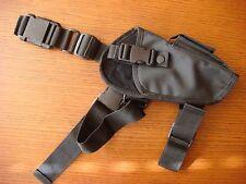 Tactical Gun Holster - Black Nylon - Drop Leg Thigh - Adjustable