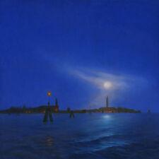 """NUOVO Originale MARK Harrison """"Blue Lagoon"""" Venezia Italia Gondola dipinto ad olio"""
