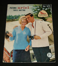 VINTAGE 1960s  PATONS KNITTING BOOK  #675 FAMILY CASUAL JUMPERS TOPS
