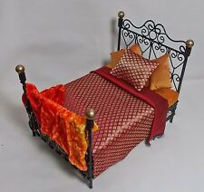 Dolls House Black & Gold Bed with REDS/ ORANGE MORROCAN STYLE SILK BEDDING