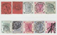 HONG KONG 1880 - 1894  ISSUE USED STAMPS SHOWING NICE POSTMARKS 10