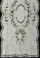 "Spring Embroidered Floral Cutwork Table Runner Dresser Scarf 15x69"" Beige #3589"