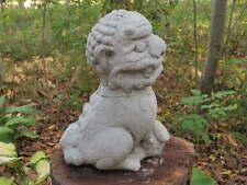 "Cement 10"" Tall Chinese Foo Dog Garden Art Statue Concrete Asian"