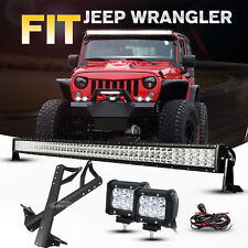 "For Jeep Wrangler JK 52INCH 700W CREE LED Work Light Bar +4"" 18W +Mount Brackets"