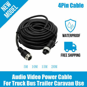 50FT 15M EKYLIN Car 4-Pin Aviation Video Extension Cable for CCTV Rearview Camera Truck Trailer Camper Bus Motorhome Vehicle Backup Monitor Waterproof Shockproof System