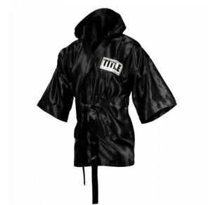 Title Boxing Stock 3/4 Length Black Satin Walkout Fingertip Robe Size Small S