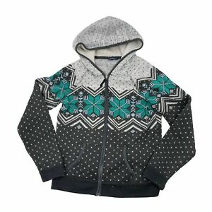 American Eagle Junior Size L Full Zip Hooded Sweater Snowflake Winter