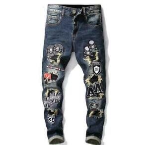 2021 Men's Embroidered Slim Denim Ripped Trousers Patchwork Printed Feet