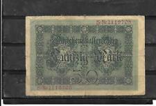 GERMANY GERMAN #49a 1914 VG CIRCULATED OLD 50 MARK  BANKNOTE NOTE  PAPER MONEY