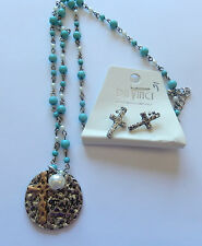Necklace & Earring set-round pendant  Faith crosses-beaded chain turquoise white