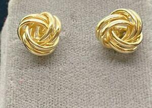 14K Yellow Gold Knot Earrings Pierced Post 11mm