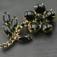 VINTAGE Gold Tone Daisy Flower Floral Black Onyx Stone Pin Brooch a41