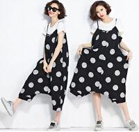 Womens Cotton Linen Bib Overall Pants Dress Pinafore Suspender Pants Baggy Plus