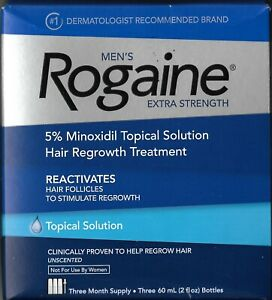Men's Rogaine, Hair Regrowth Treatment, 3 boxes, 9-month supply, liquid, new